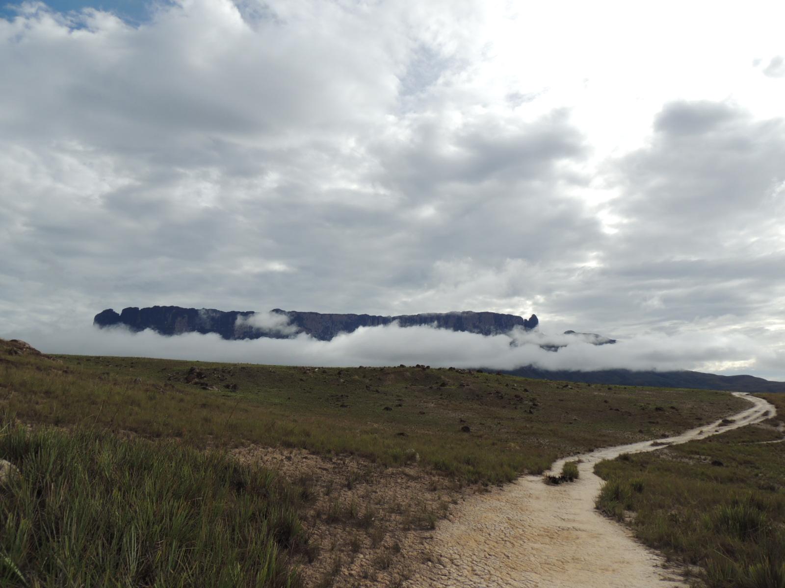Trilha e Roraima entre nuvens.JPG