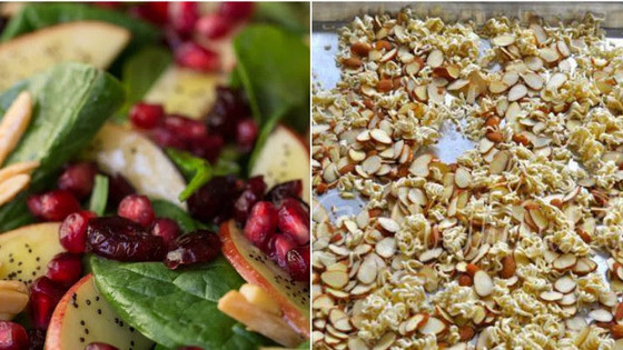 Festive Apple Almond Spinach Salad