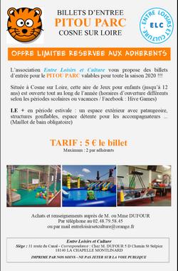 Offre ELC Billets PITOU PARC 2020