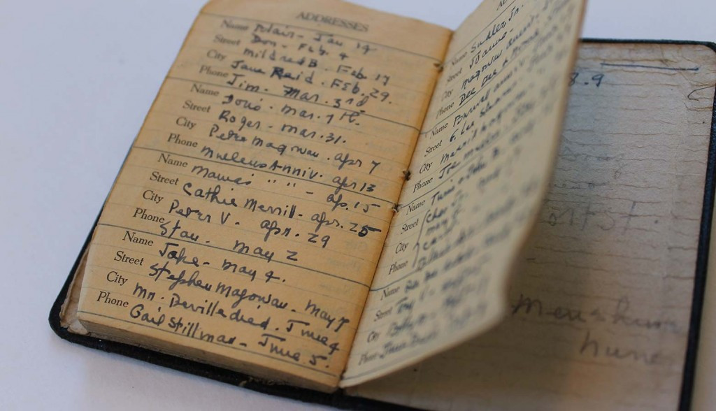 The address book of Merrill's mother, Hellen Plummer, recently donated to the Merrill House.