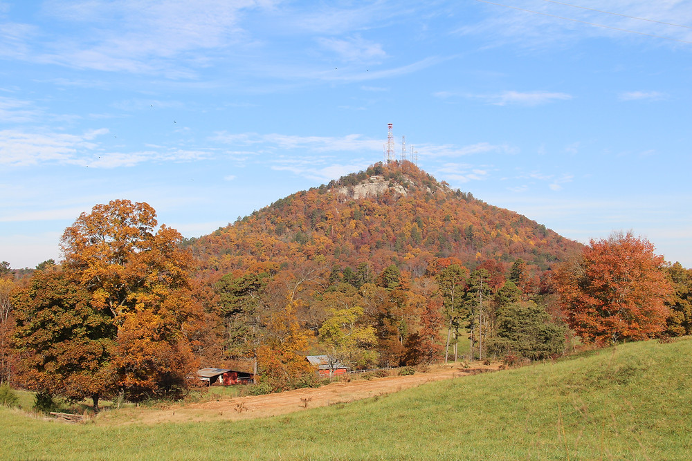 Currahee Mountain with fall colors