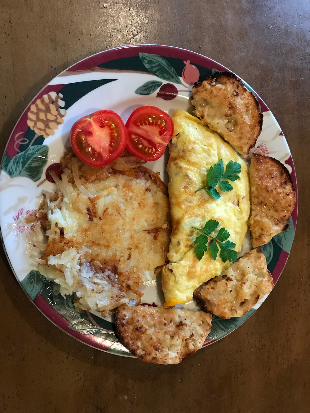 Breakfast - Omelette, Hashbrowns and English Muffins