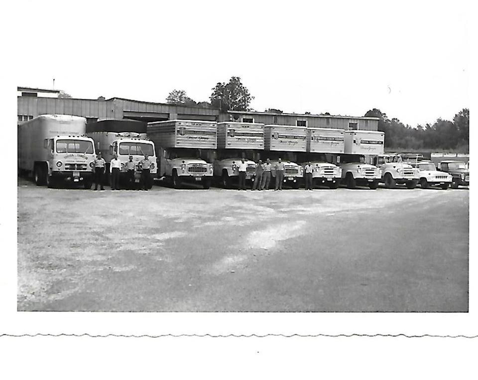 Old picture of delivery trucks at the Toccoa Casket Company