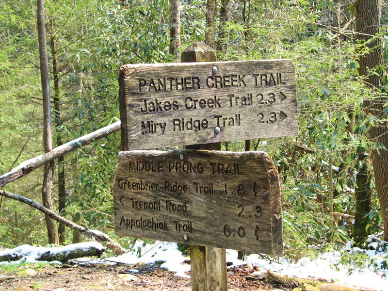 Panther Creek Trail signs