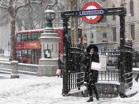Neve a Londra per via della tempesta Darcy