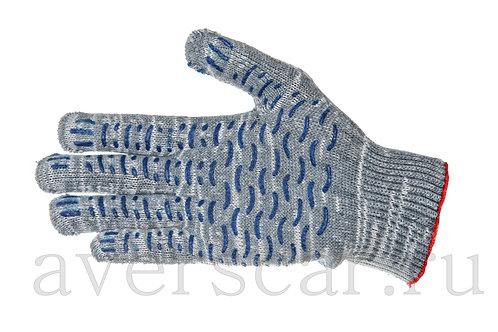 Перчатки рабочие 10 класс 5 нитей с ПВХ (132)
