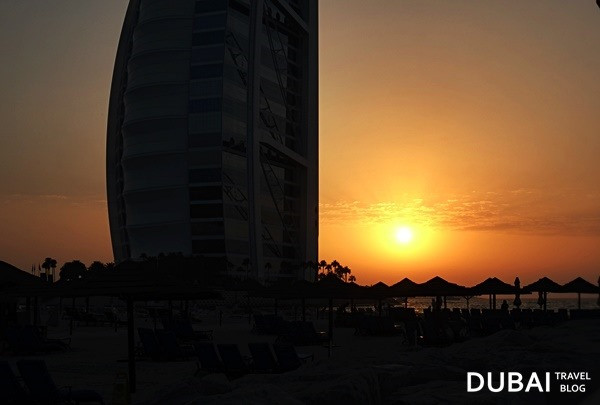 sunset burj al arab beach