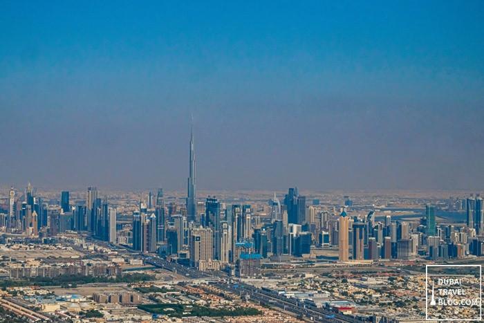 burj khalifa skyline dubai gyrocopter