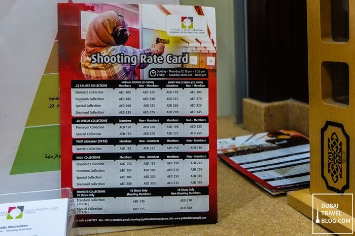 sharjah shooting club cost