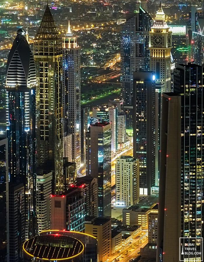 dubai skyscrapers at night