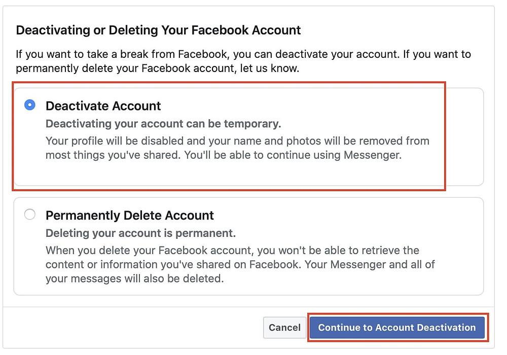 deactivate an account on Facebook
