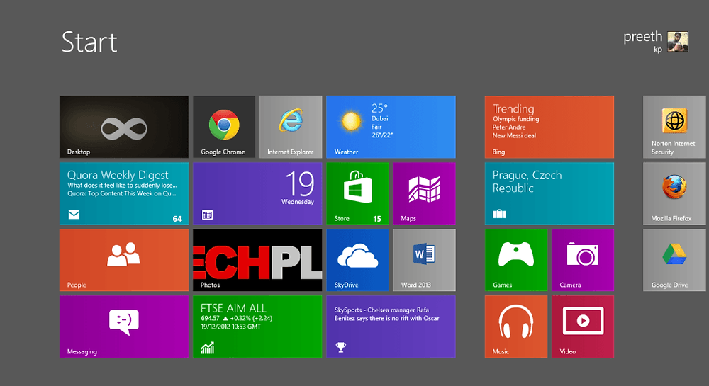 Windows 8 New interface