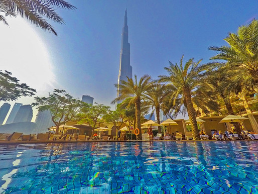 Swimming Pool with a View of Burj Khalifa at the Palace Downtown
