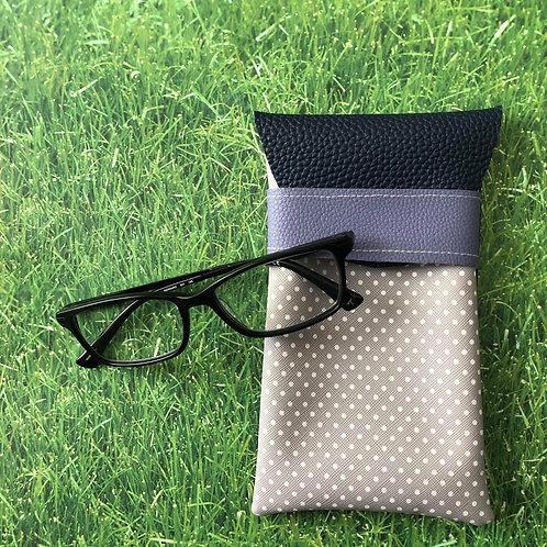 Gray Polka Dot Soft Eyeglass Case