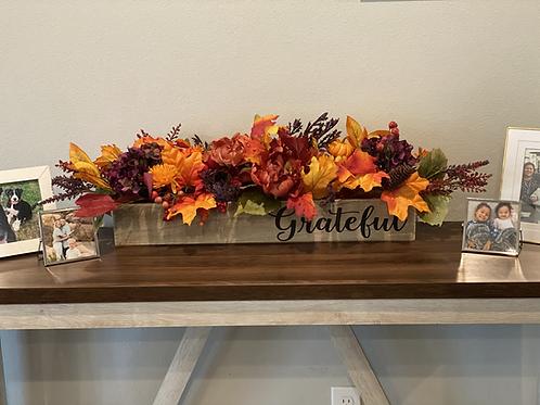 """Grateful for Fall"" Floral Table Arrangement."