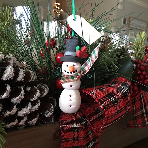 Top Hat Snowman with Tag Ornament