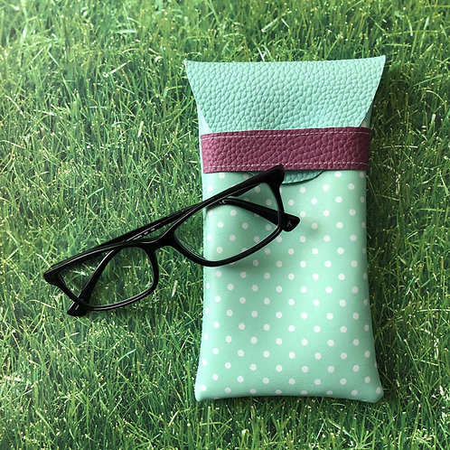 Teal Polka Dot Soft Eyeglass Case