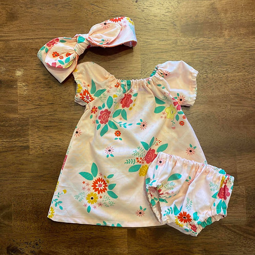 Peasant Dress with or w/o matching Headband  & Diaper Cover
