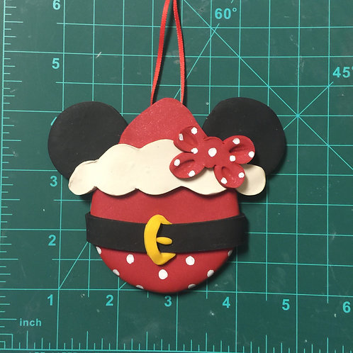 Santa Minnie/Mickey Christmas Ornament