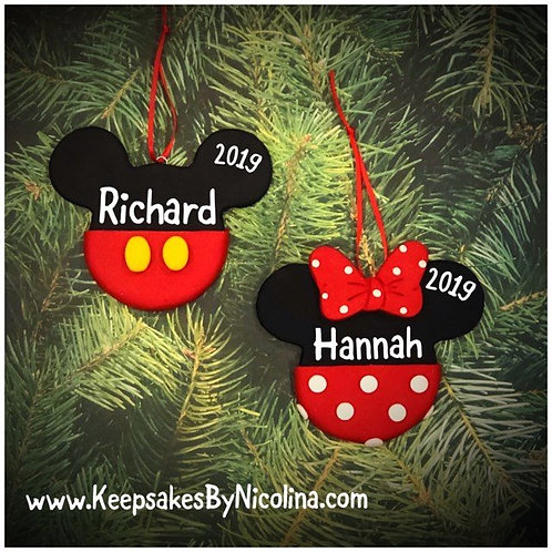 Mickey and Minnie Ears Ornament