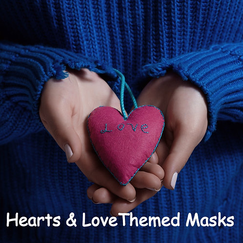 Hearts & Love Themed Face Masks