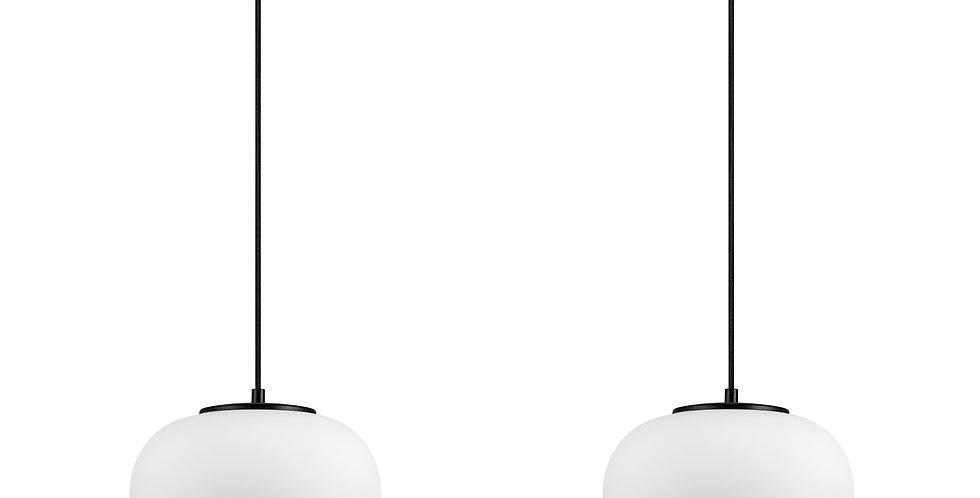 DOSEI 2/S Colgante de 2 Luces Pantalla de Vidrio Opalino soporte negro