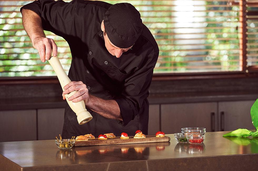 Restaurant hotel private chef preparing