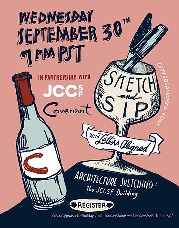 Sketch and Sip Covenant Wines and JCCSF.