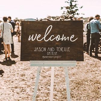 Timber wedding sign