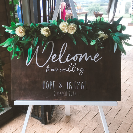 Welcome sign - timber