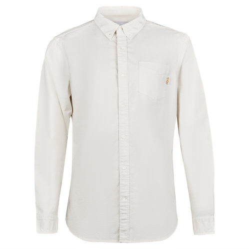 Long sleeve cotton stretch Oxford in Cots Stone