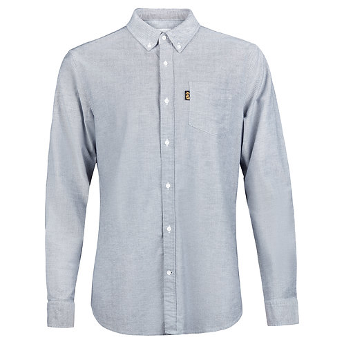 Long sleeve cotton stretch Oxford in Stone Grey