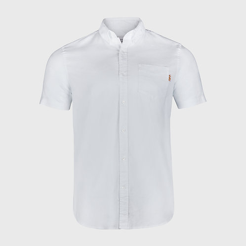 Short Sleeve cotton stretch Oxford shirt in White