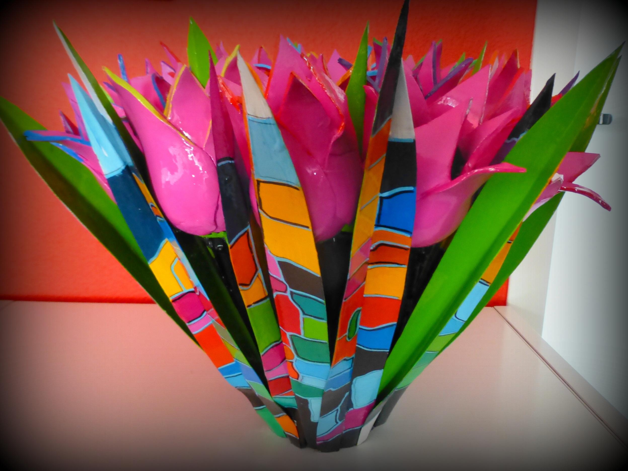 18 meerkleurige roze klei tulpen met gek