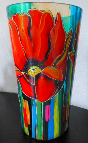 vase (45 cm) with 3 poppies 2. June 2015