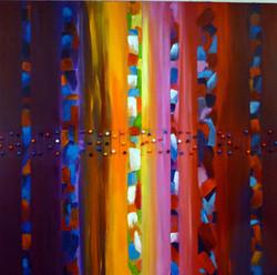 schilderij met strepen roze-blauw-paars