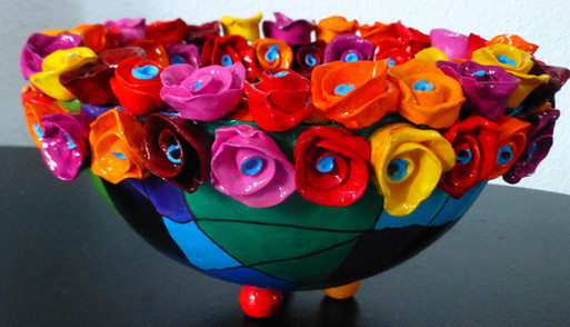 Copy of bowl with colored roses,