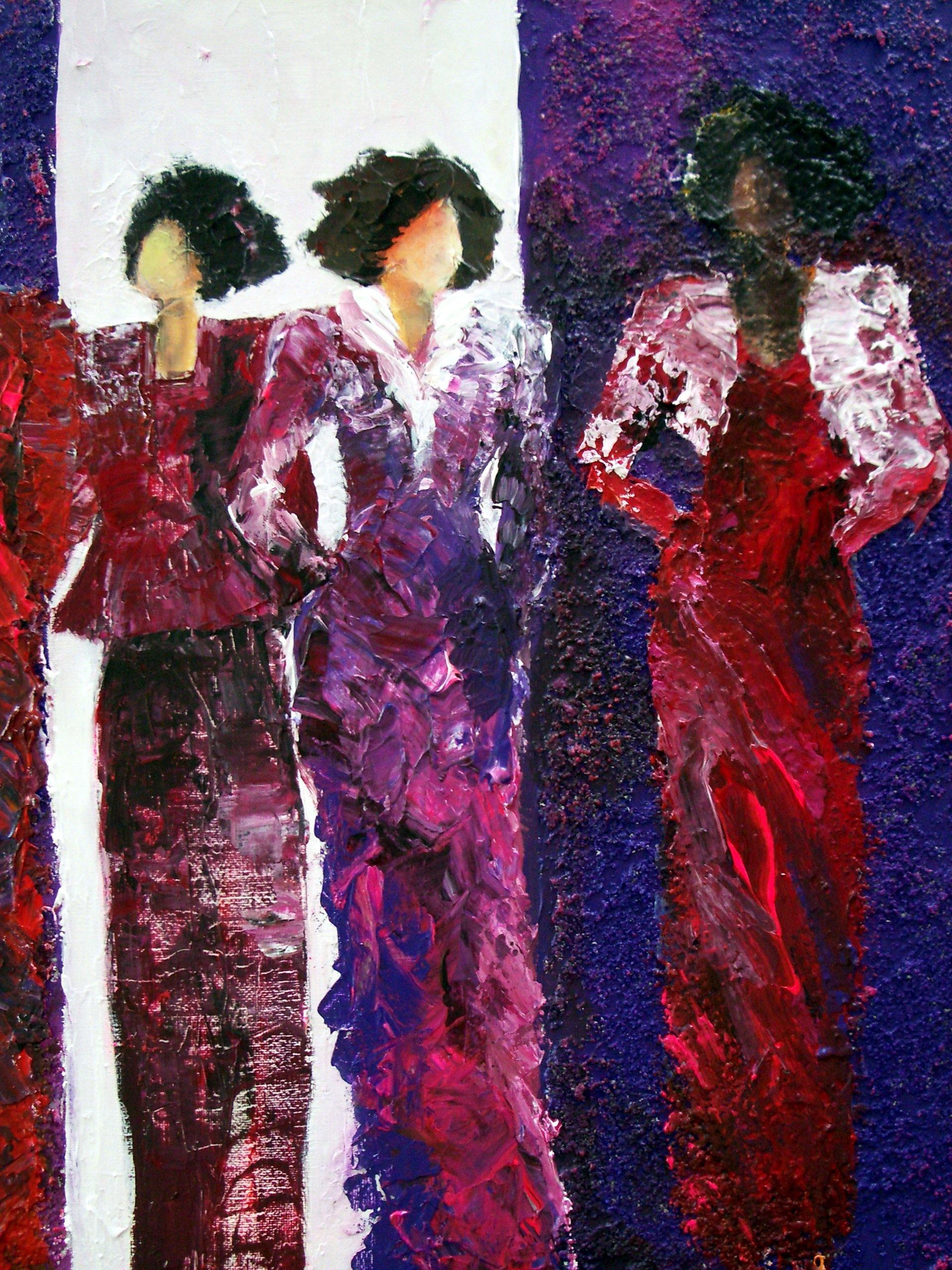 5 vrouwen in roodroze jurken 50 x 60 cm