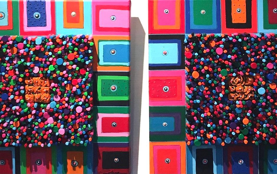 2-luik abstract met staafjes