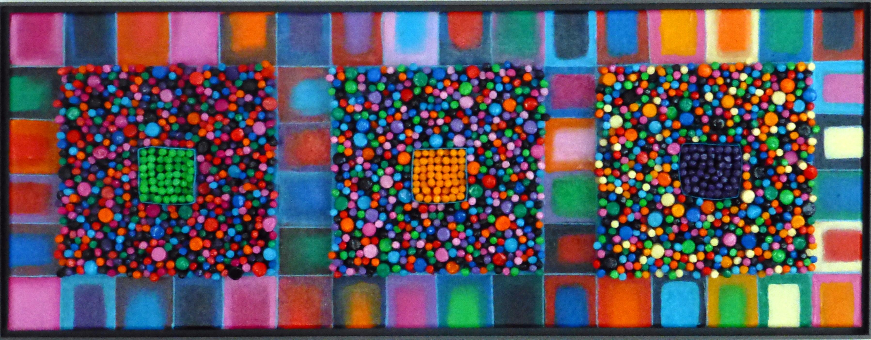 3 vierkanten met staafjes van klei, voor