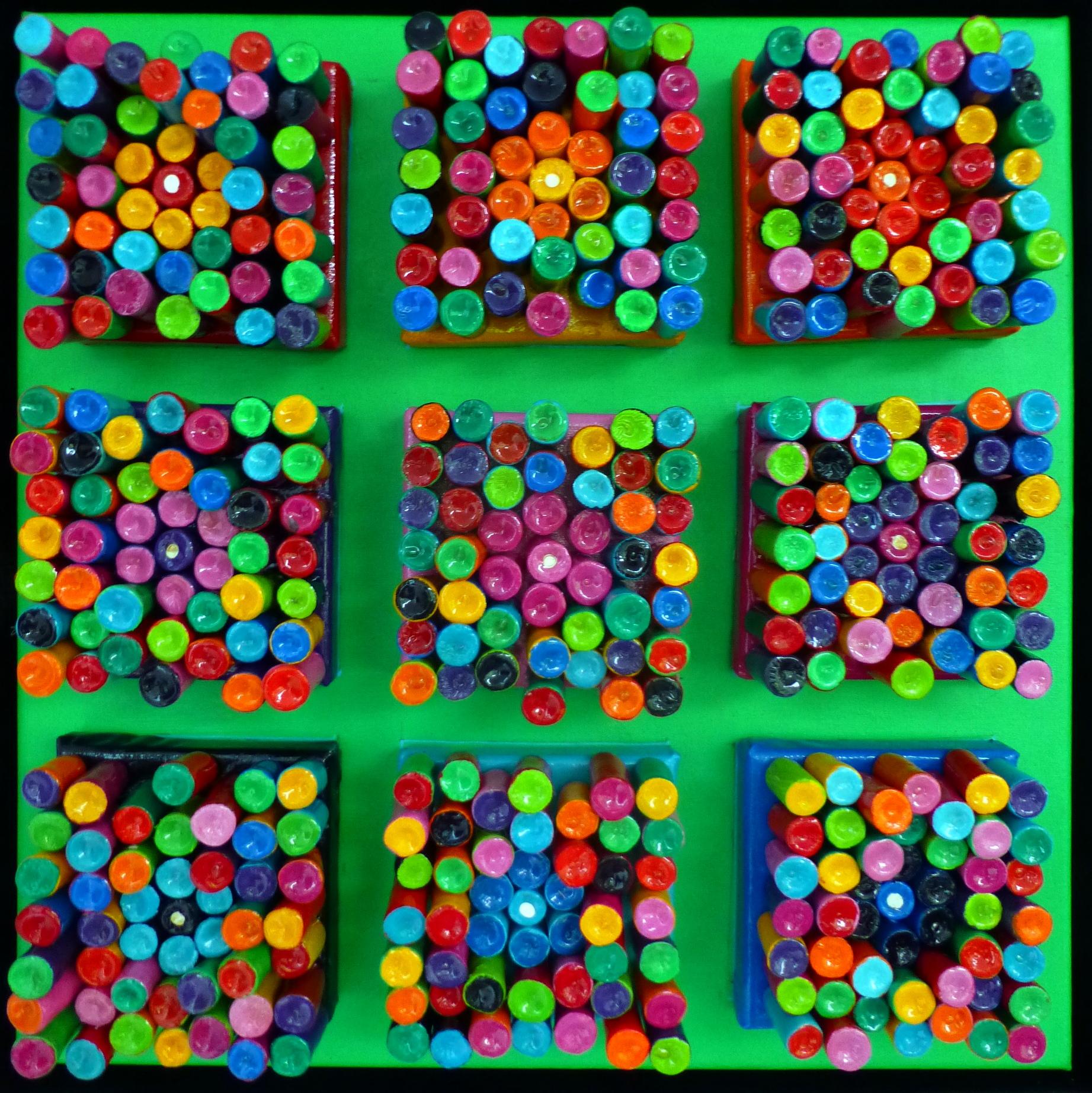 abstract groen met 9 vakken met klei sta