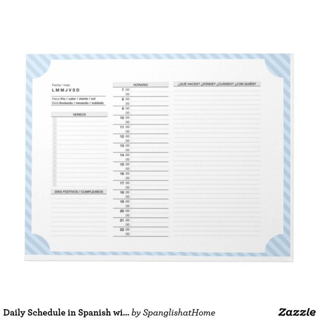 Daily Schedule in Spanish with Verbs, Practice Notepad