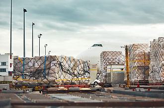 Everyday life at the international airport. Loading of the cargo airplane. .jpg