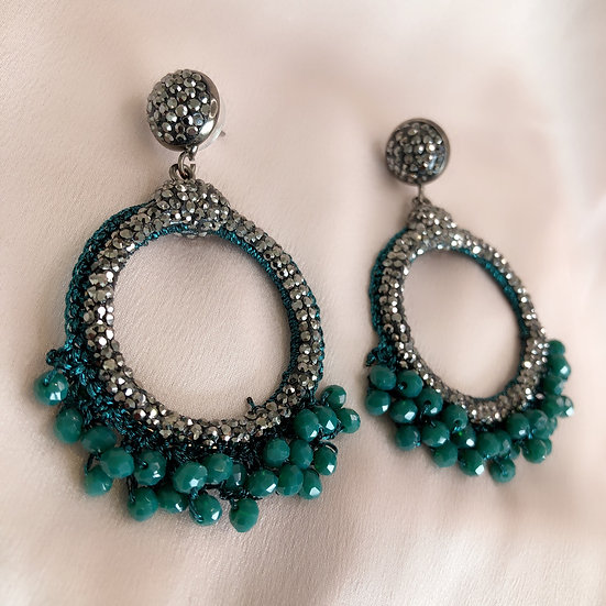 Antibes Earrings - Forest Green