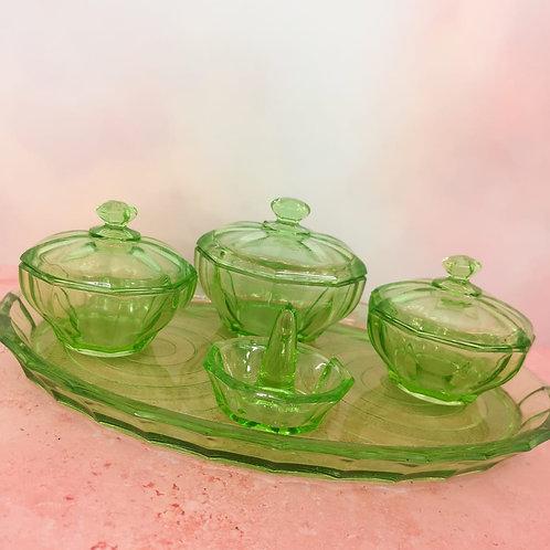 Apple Green Glass Dressing Table Set