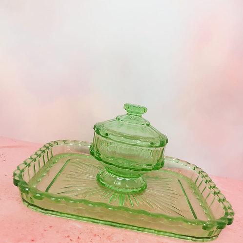 Apple Green Scalloped Dressing Table Set