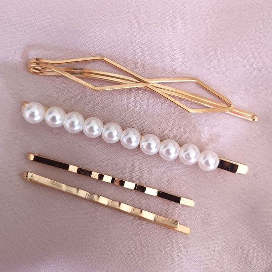 By Day Hair Grip Set - Pearl
