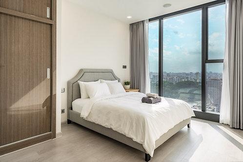 Giường bọc vải gồm nệm - Queen size
