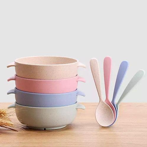 Plastic Colour Bowel & Spoon