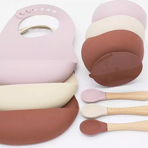 Silicone Suction Bowl, Bib & Spoon